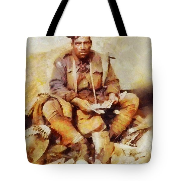 History In Color. Australian Soldier Pvt Barney Hines Wwi Tote Bag