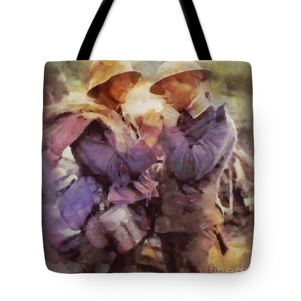History In Color. Wwi Truce In The Trenches Tote Bag