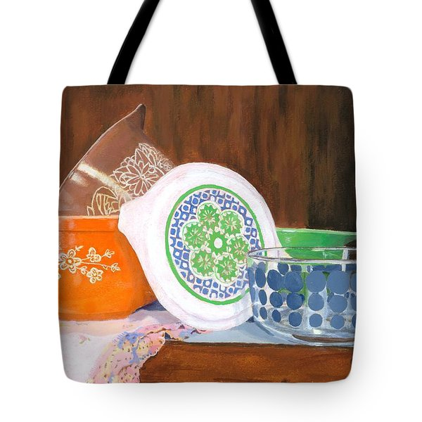 Tote Bag featuring the painting History Of Pyrex by Lynne Reichhart