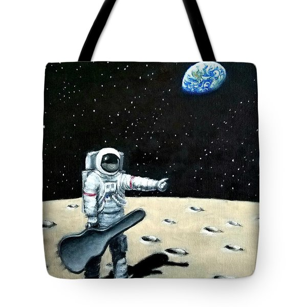 Hitchhiker With Guitar  Tote Bag