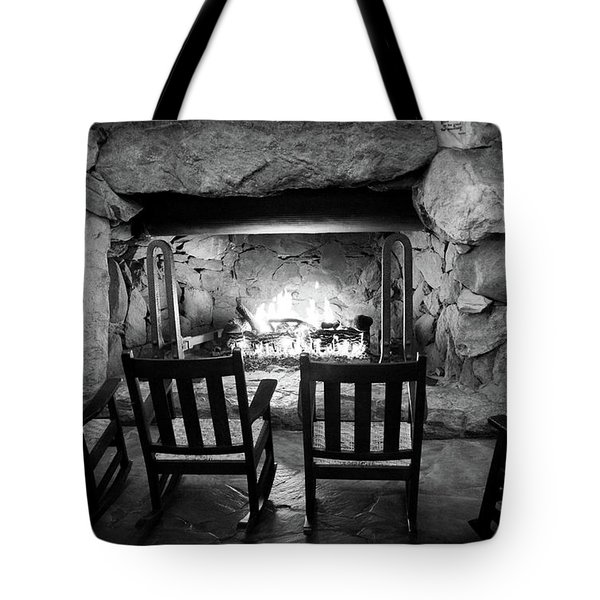 Tote Bag featuring the photograph Winter Warmth In Black And White by Karen Wiles
