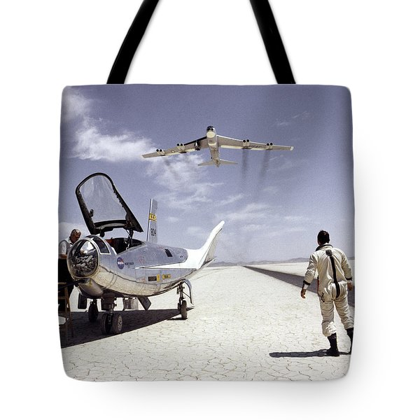 Tote Bag featuring the photograph Hl-10 On Lakebed With B-52 Flyby by Artistic Panda