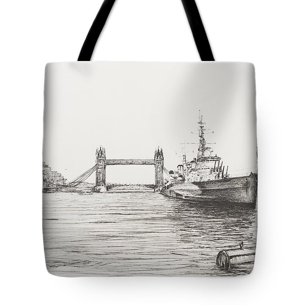 Hms Belfast On The River Thames Tote Bag
