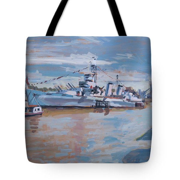 Hms Belfast Shows Off In The Sun Tote Bag