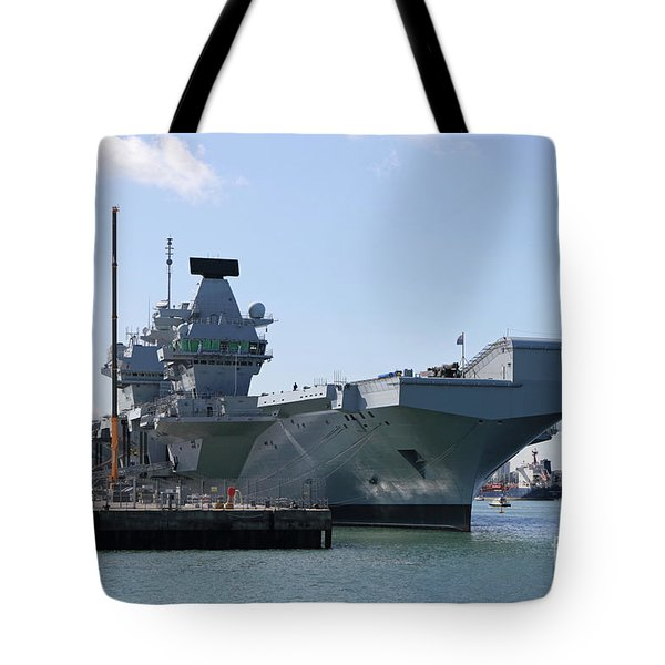Hms Queen Elizabeth Aircraft Carrier At Portmouth Harbour Tote Bag