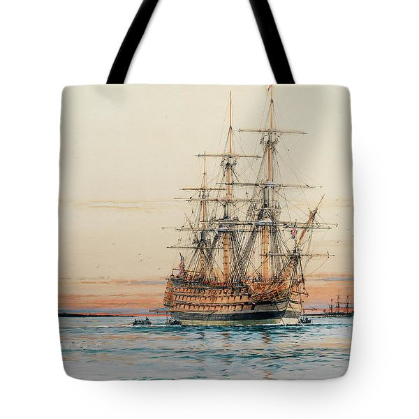 H.m.s. Sandwich Laying Her Mooring At Sunset Tote Bag