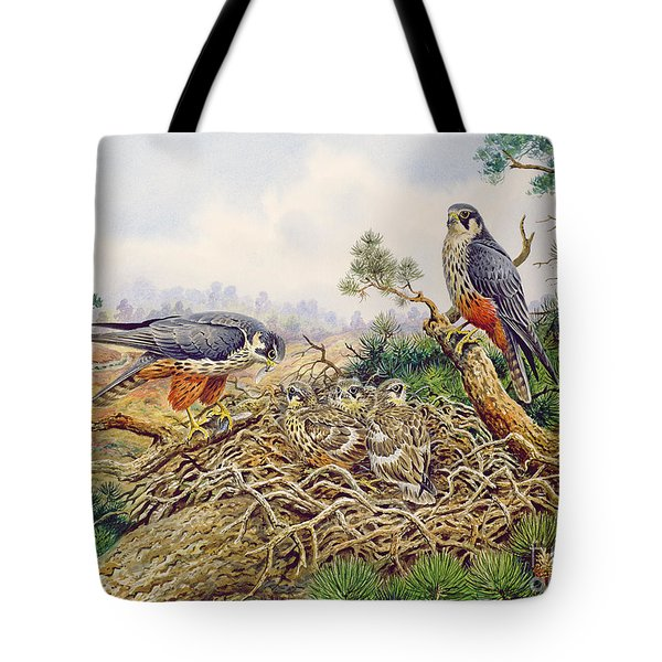 Hobbys At Their Nest Tote Bag by Carl Donner
