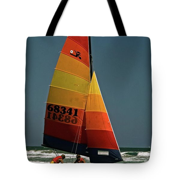 Hobie Cat In Surf Tote Bag by Sally Weigand