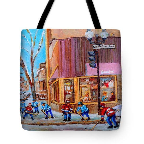 Hockey At Beautys Deli Tote Bag by Carole Spandau