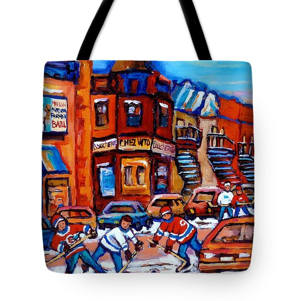Hockey At Fairmount Bagel Tote Bag by Carole Spandau