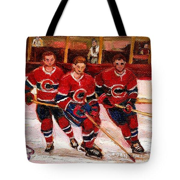 Hockey At The Forum Tote Bag by Carole Spandau