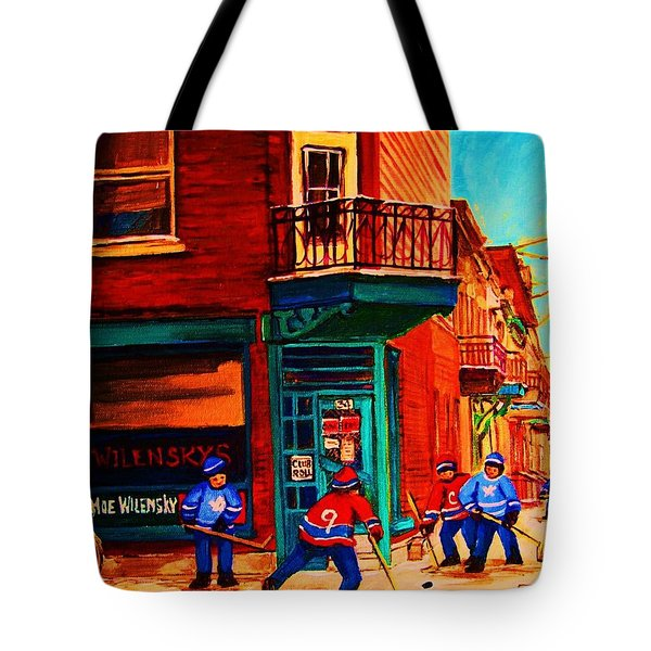 Hockey At Wilenskys Corner Tote Bag by Carole Spandau
