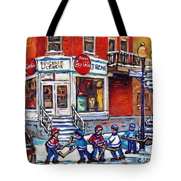 Hockey Game Art Coca Cola Corner Store Painting J Rene Rue Villeneuve At Grand Pre Montreal Scenes  Tote Bag