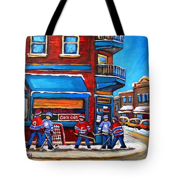 Hockey Game At Wilensky's Tote Bag by Carole Spandau