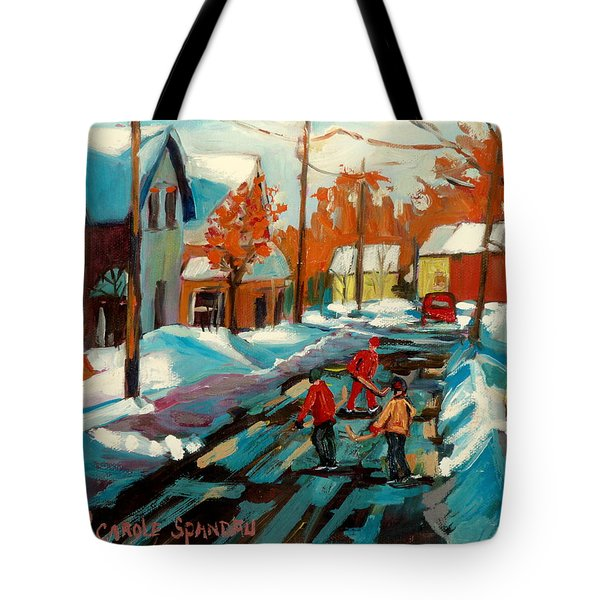 Hockey Game In Ville St Laurent Montreal Streetscenes Tote Bag by Carole Spandau