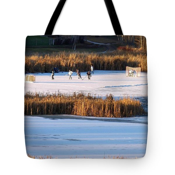 Hockey Game Tote Bag by Will Borden