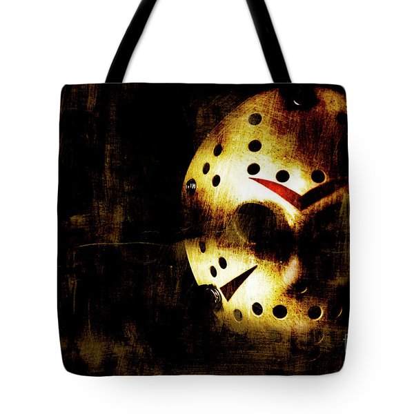 Hockey Mask Horror Tote Bag