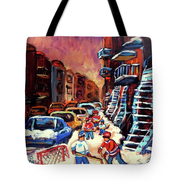 Hockey Paintings Of Montreal St Urbain Street Winterscene Tote Bag by Carole Spandau