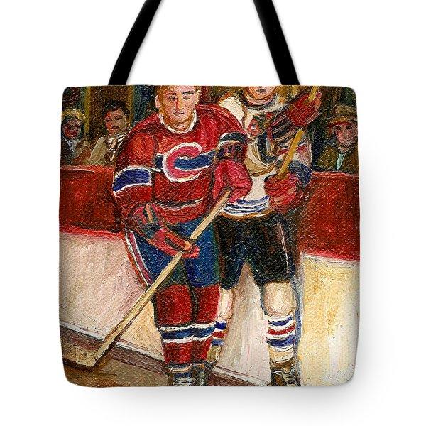 Hockey Stars At The Forum Tote Bag by Carole Spandau