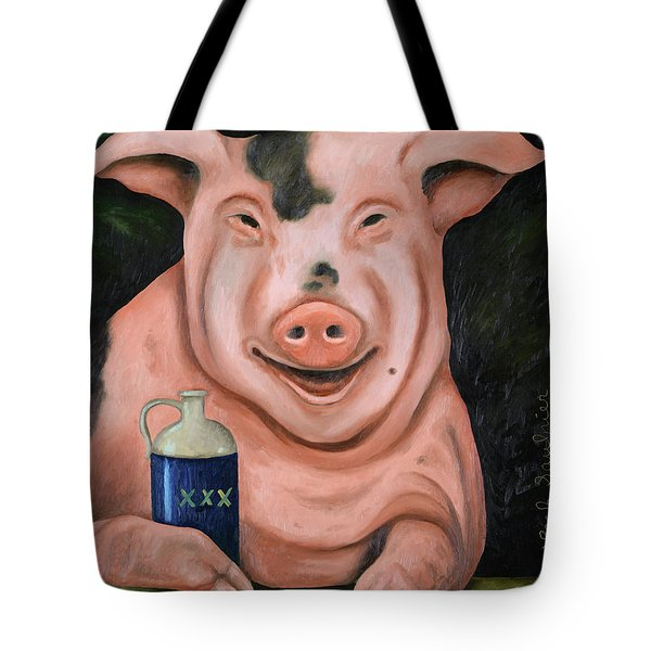 Hogging The Moonshine Tote Bag by Leah Saulnier The Painting Maniac