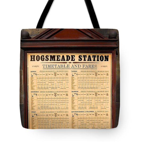 Tote Bag featuring the photograph Hogsmeade Station Timetable by Juergen Weiss