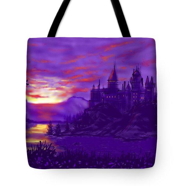 Hogwarts In Purple Tote Bag
