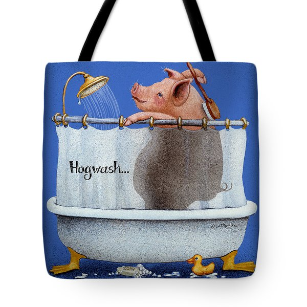 Tote Bag featuring the painting Hogwash... by Will Bullas