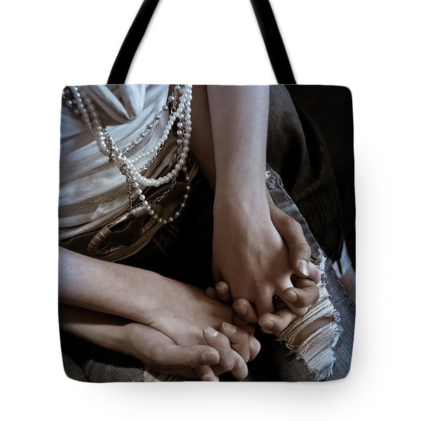 Holding Hands Tote Bag by Scott Sawyer