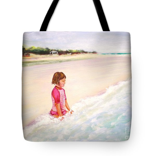 Tote Bag featuring the painting Holding The Ocean by Patricia Piffath