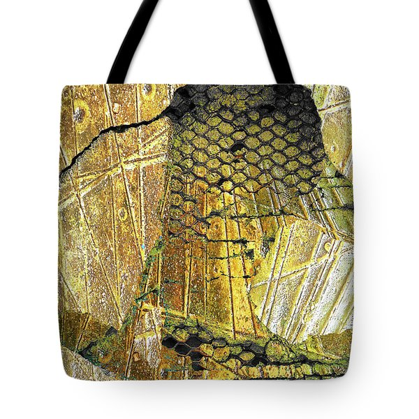 Tote Bag featuring the mixed media Hole In The Wall by Tony Rubino
