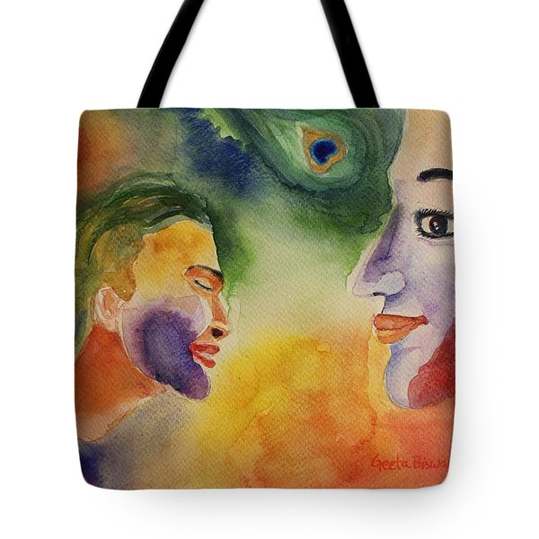 Tote Bag featuring the painting Holi The Festival Of Colors by Geeta Biswas