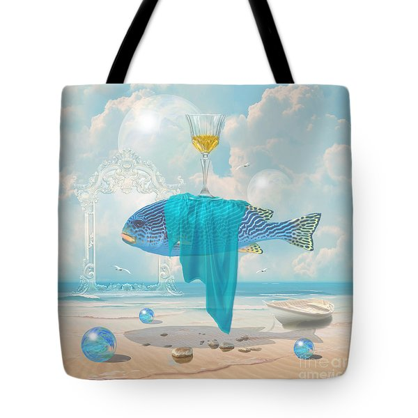 Tote Bag featuring the digital art Holiday At The Seaside by Alexa Szlavics