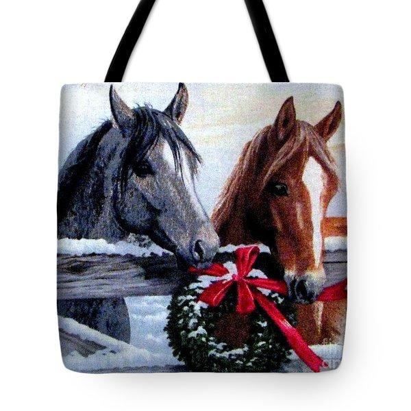Tote Bag featuring the photograph Holiday Barnyard by Judyann Matthews
