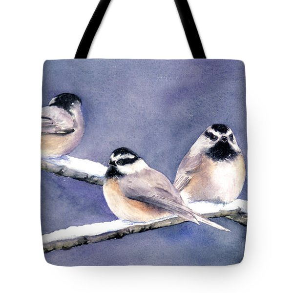 Holiday Chickadees Tote Bag