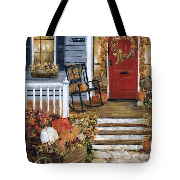 Pumpkin Porch Tote Bag