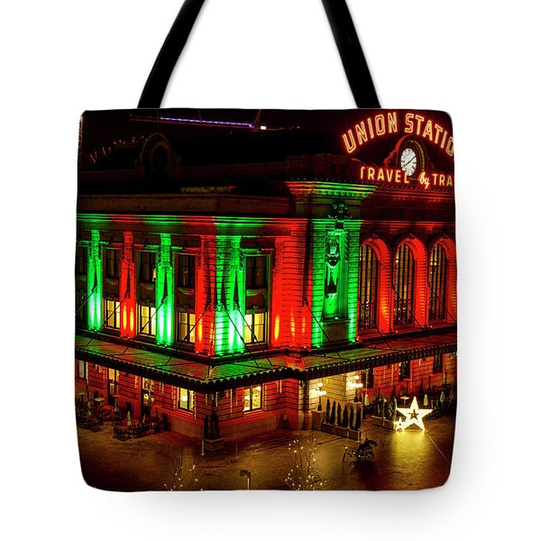 Holiday Lights At Union Station Denver Tote Bag by Teri Virbickis