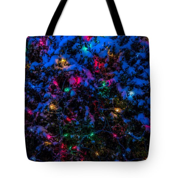 Holiday Lights In Snow Tote Bag