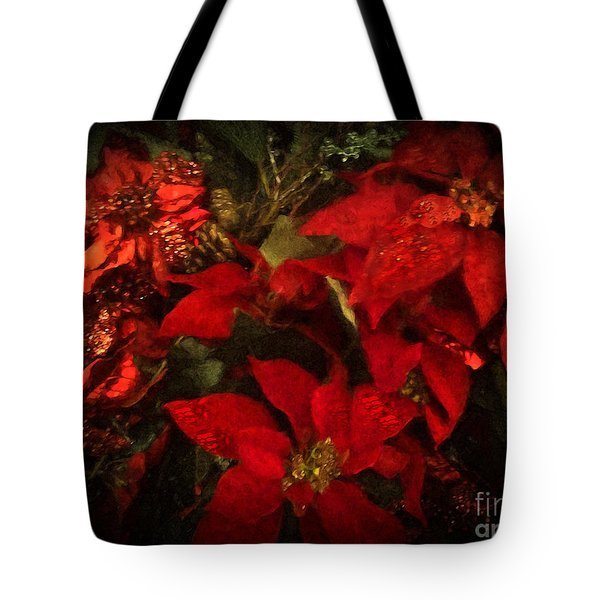 Holiday Painted Poinsettias Tote Bag