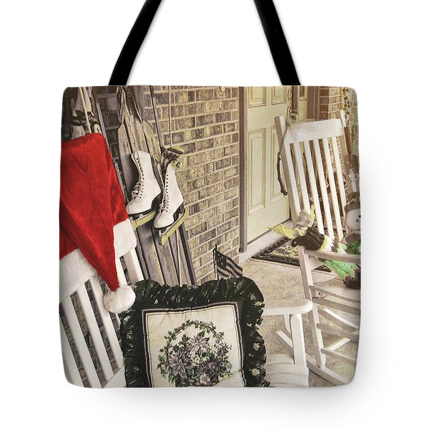 Holiday Porch Tote Bag by JAMART Photography