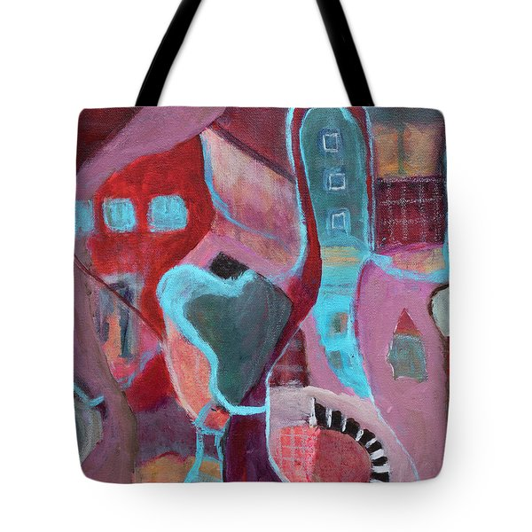 Tote Bag featuring the painting Holiday Windows by Susan Stone