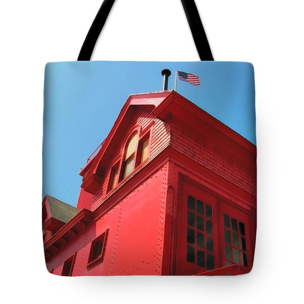 Holland Harbor Light From The Bottom Up Tote Bag by Michelle Calkins