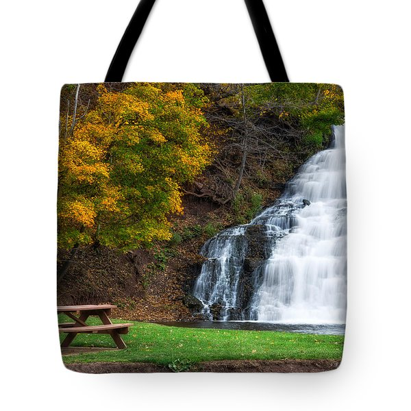 Tote Bag featuring the photograph Holley Canal Falls by Mark Papke