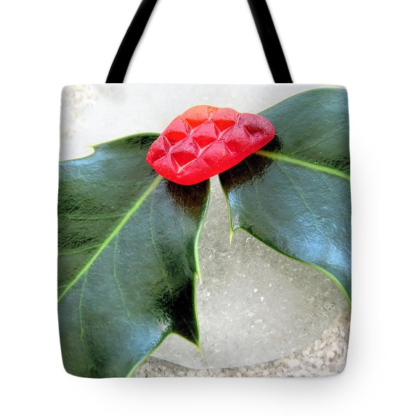 Holly And Sea Glass  Tote Bag