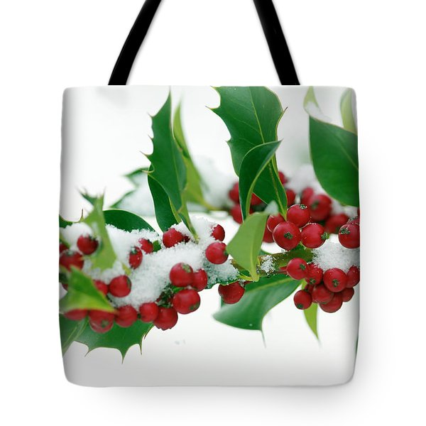 Tote Bag featuring the photograph Holly Berries On White by Sharon Talson