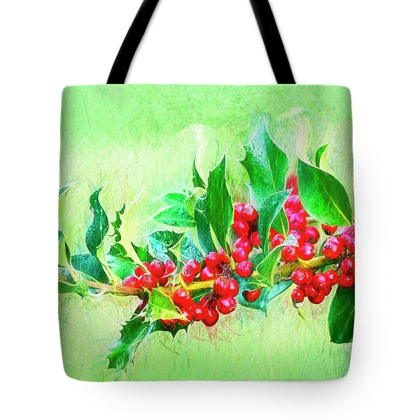 Tote Bag featuring the photograph Holly Berries Photo Art by Sharon Talson