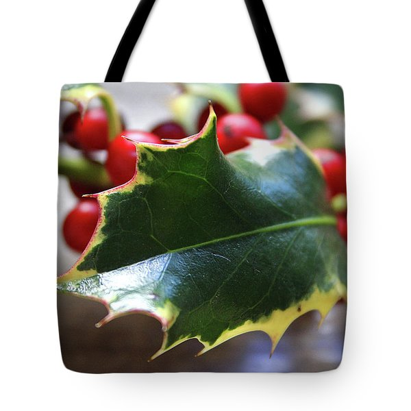 Holly Berries- Photograph By Linda Woods Tote Bag