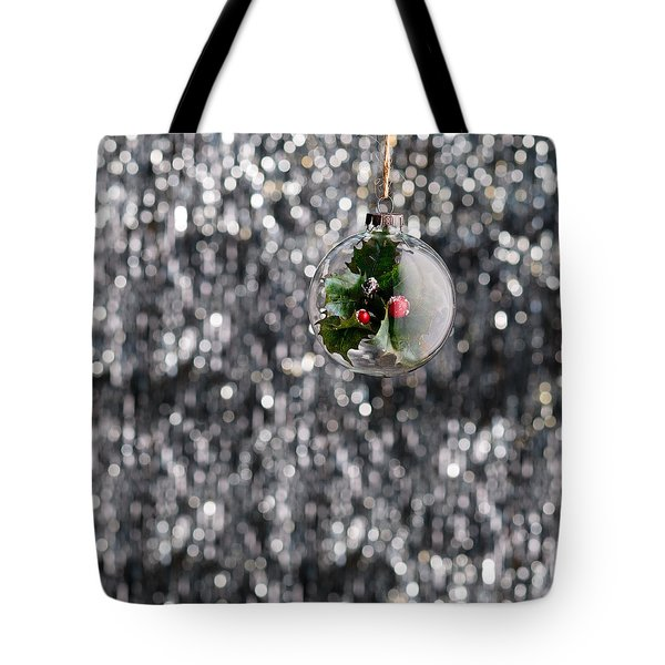 Tote Bag featuring the photograph Holly Christmas Bauble  by Ulrich Schade