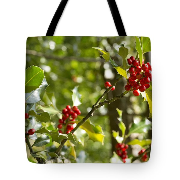 Holly With Berries Tote Bag by Chevy Fleet