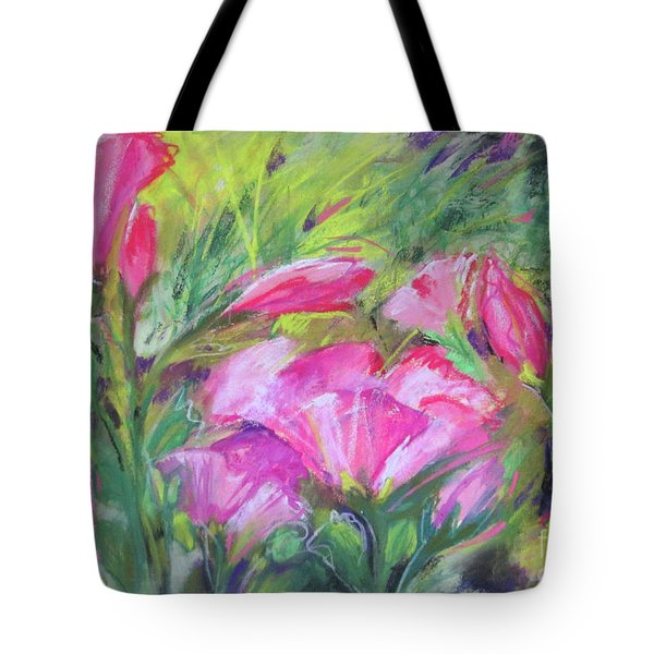 Tote Bag featuring the painting Hollyhock Breeze by Susan Herbst