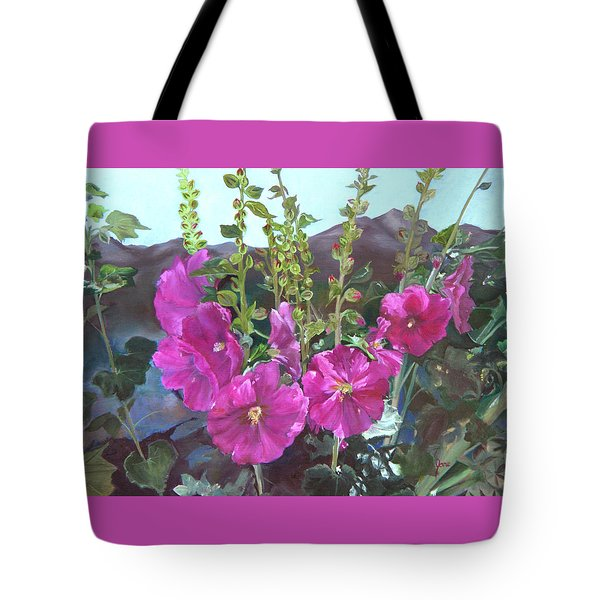 Tote Bag featuring the painting Hollyhock Necklace by Jane Autry